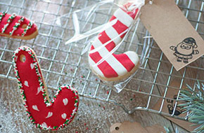 Galletas bastón de Navidad decoradas con glasa. Sorteo