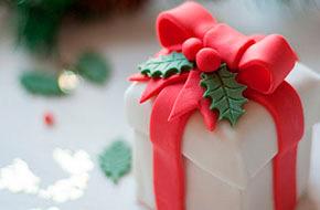 Cómo hacer un pastelito con forma de caja de regalo de Navidad