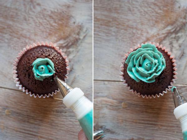 como hacer pétalos cupcakes