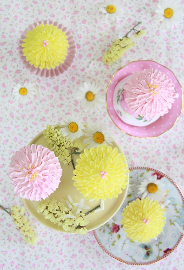 Cupcakes de crisantemos