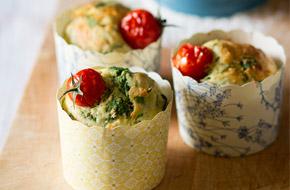 Muffins salados de parmesano y espinacas