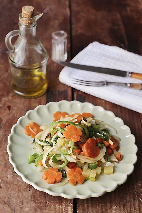 corte de verduras y salteado de hortalizas