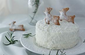 Tarta nevada de coco para Navidad