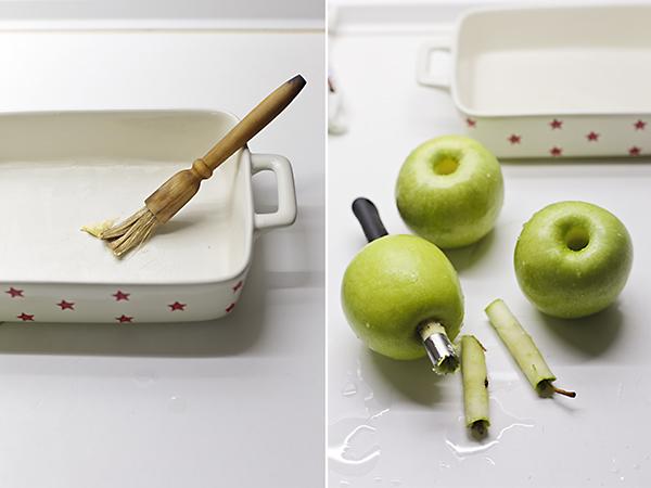 preparamos el molde y las manzanas