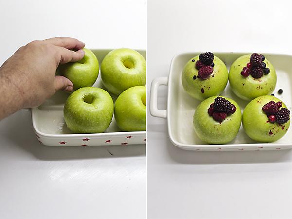 colocamos las manzanas en una fuente