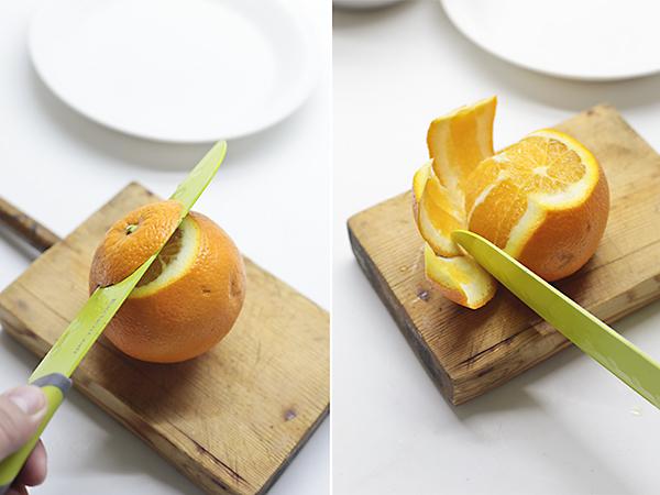 quitamos la piel de la naranja