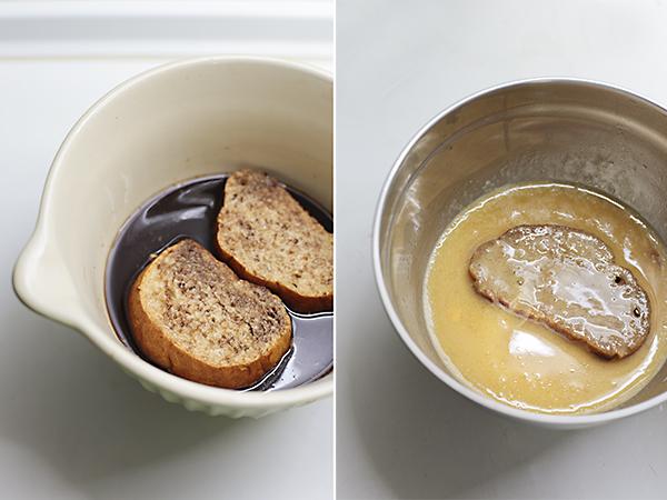 pasamos el pan por almíbar y huevo