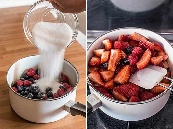 pudding de frutas de verano
