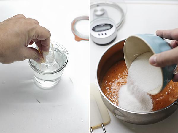 preparamos el puré de melocotón