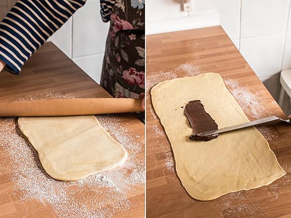 brioches trenzados chocolate
