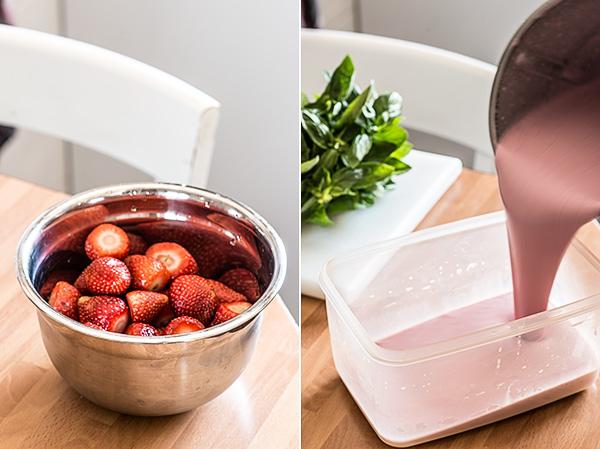 helado de fresa albahaca