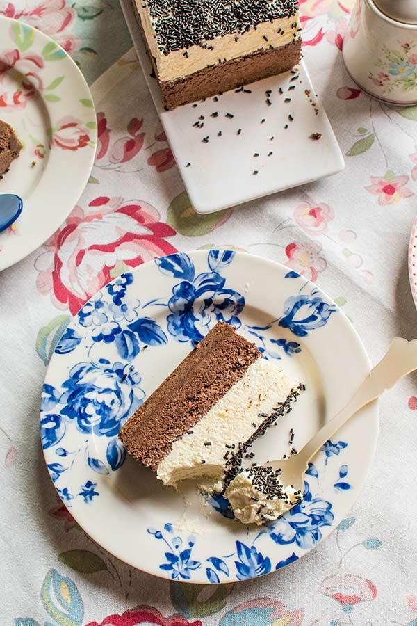 tarta mousse dos chocolates