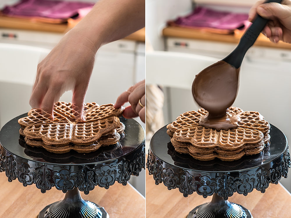 tarta gofres chocolate