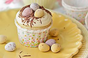 Cupcakes con chocolate blanco para Pascua