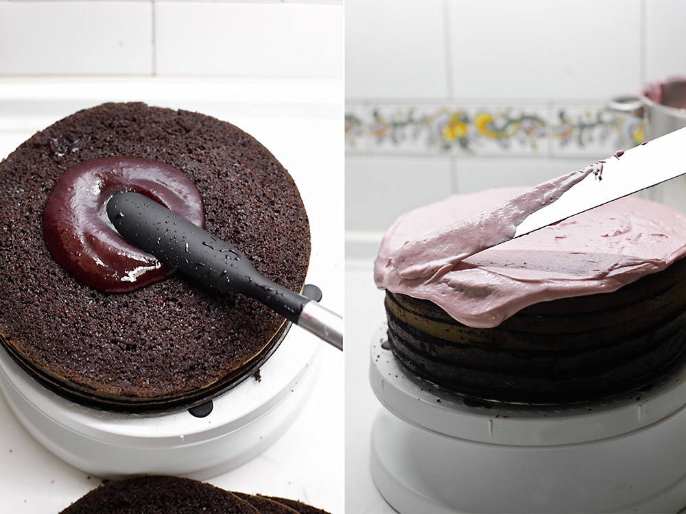 Receta de tarta de chocolate y frambuesa 9