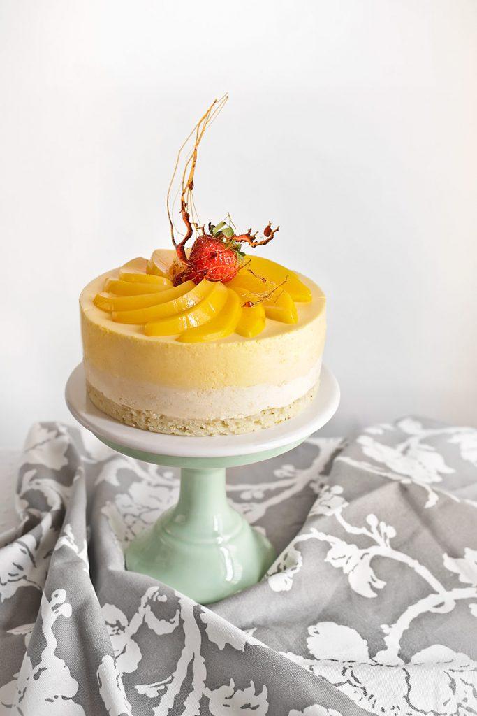 Receta de tarta mousse de melocotón y manzanilla 1