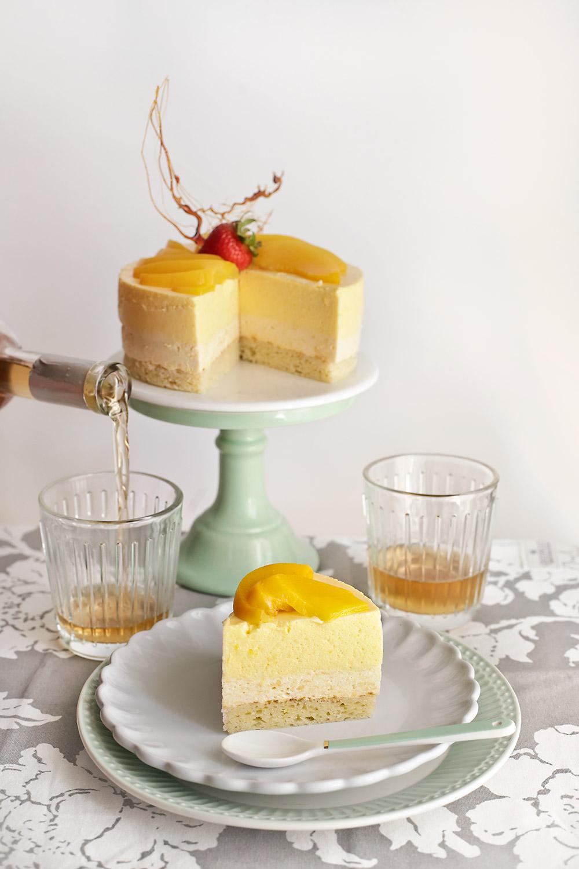 Receta de tarta mousse de melocotón y manzanilla 2