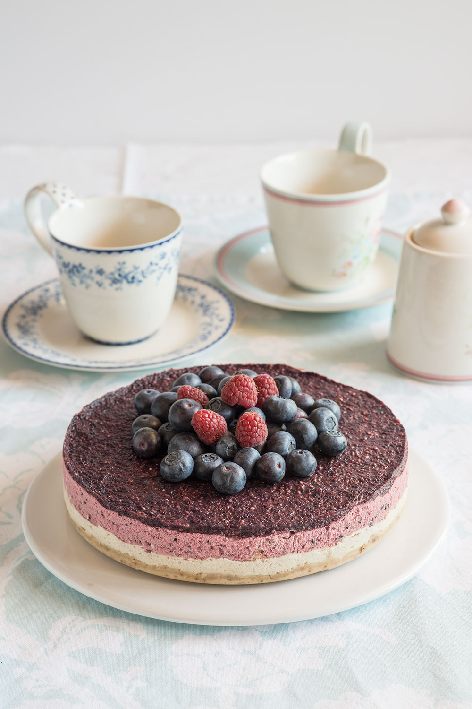 receta cheesecake vegano arandanos