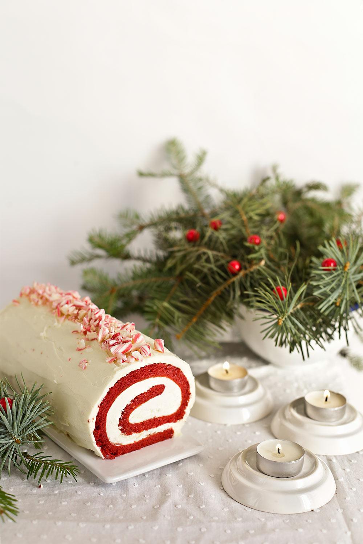 Brazo de gitano red velvet con menta para Navidad 1