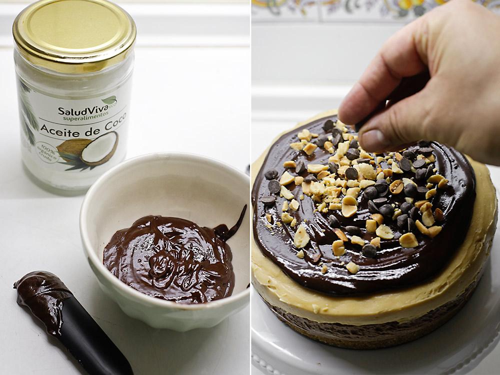 Receta cheesecake de chocolate y mantequilla de cacahuete 6