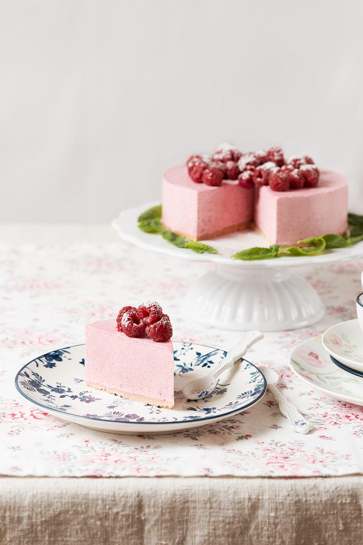 receta tarta mousse frambuesas