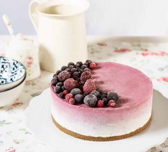 receta tarta mousse yogur frutas