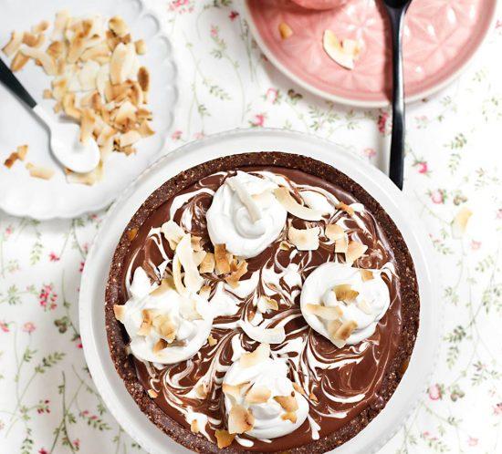Receta tarta vegana de chocolate y coco