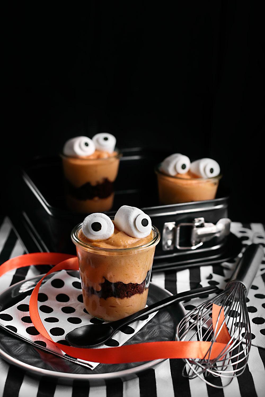 Receta pudin monstruo de calabaza y brownie para Halloween