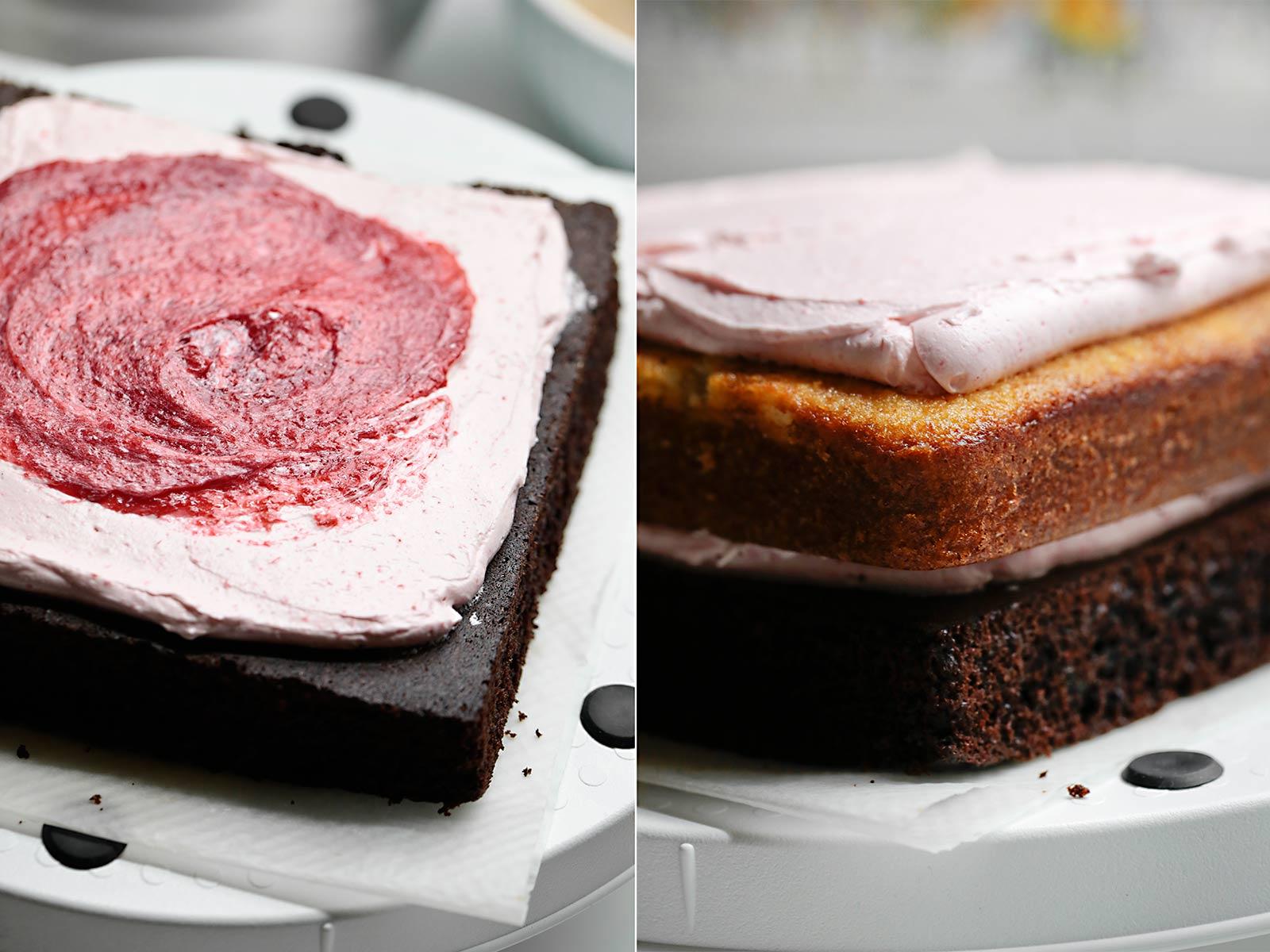 Receta layer cake de chocolate, vainilla y frambuesa