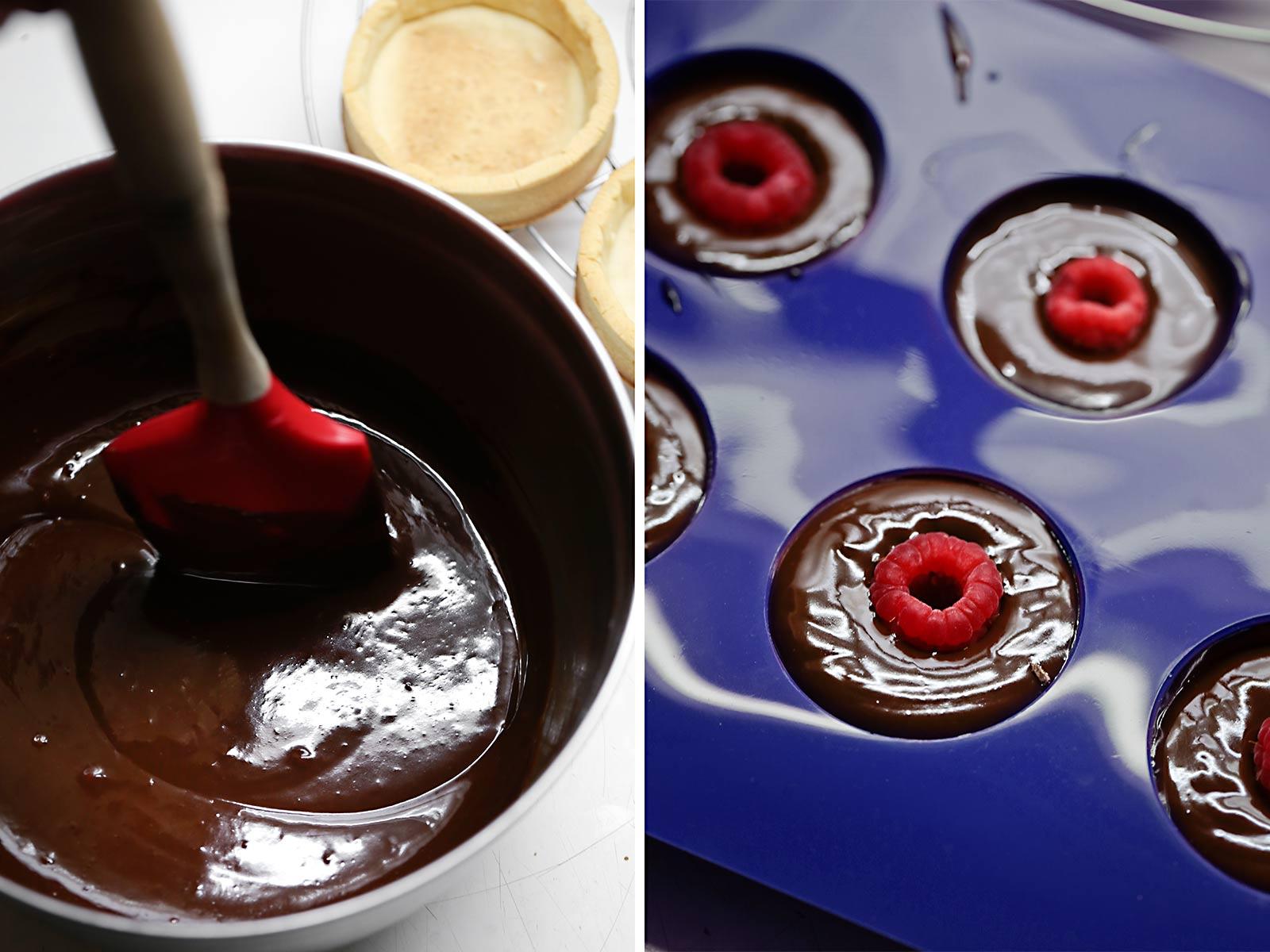 Receta tartaletas de chocolate y frambuesa