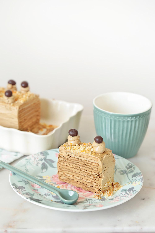 Receta tarta de galletas y café