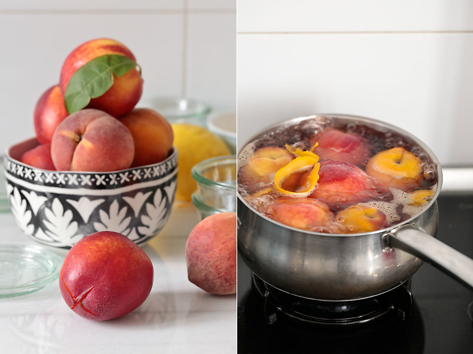 Receta mousse de mascarpone, melocotón y nectarina