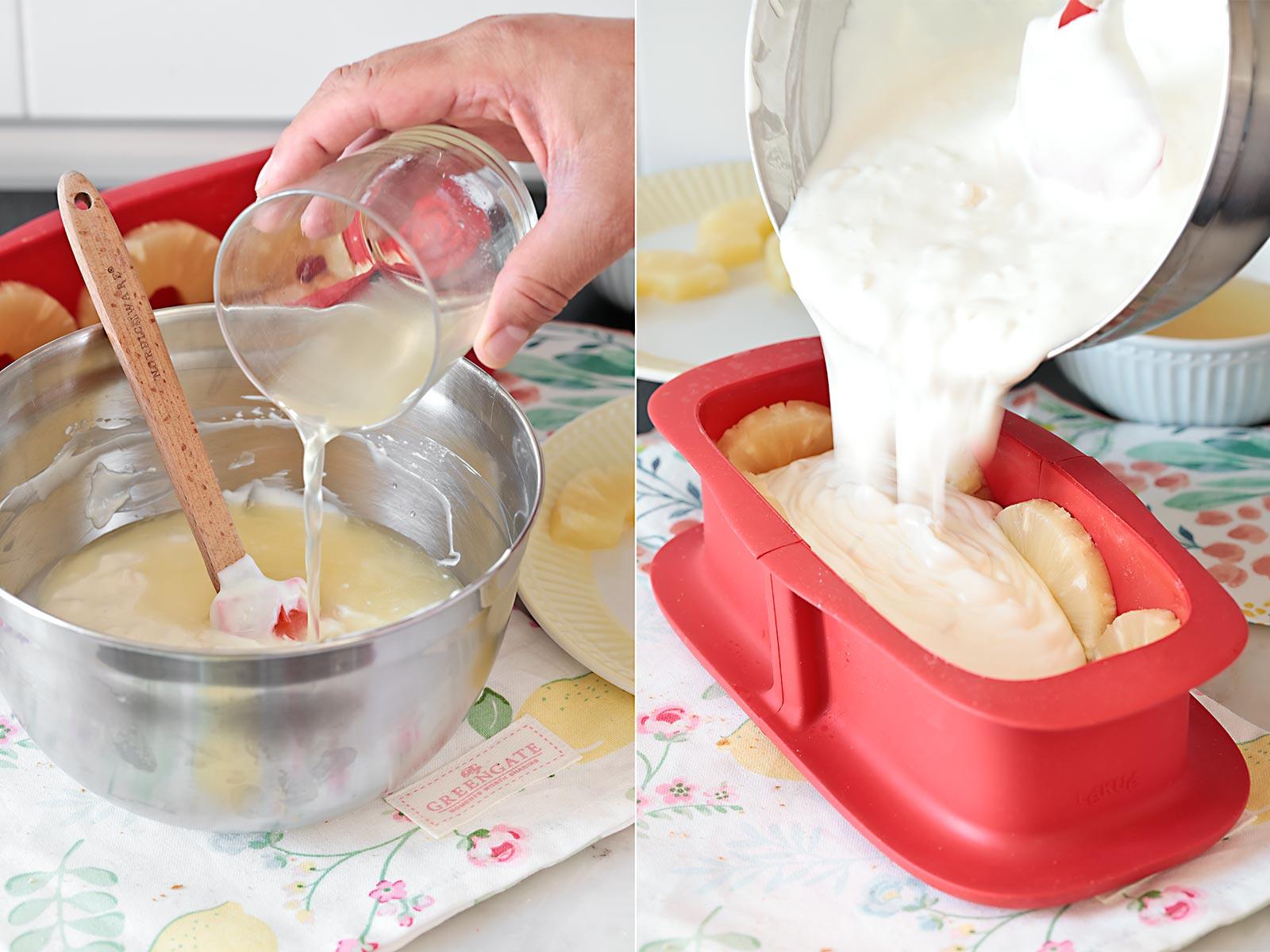 Receta tarta de yogur y piña
