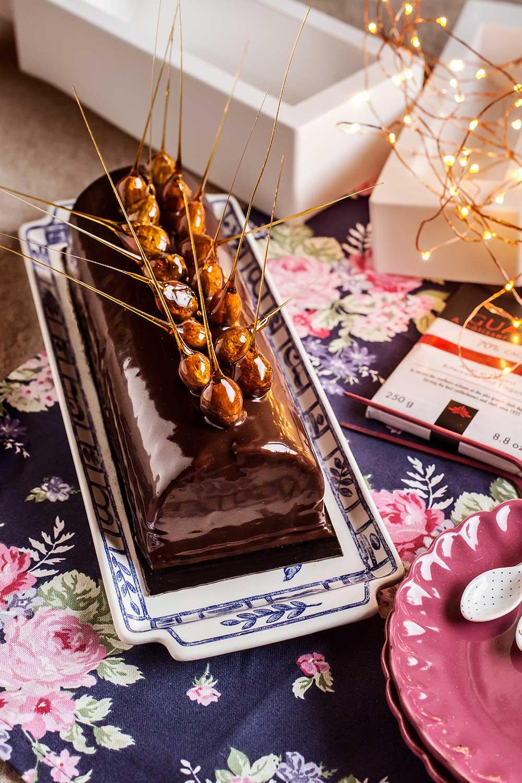 Bûche de Noël de chocolate y avellanas