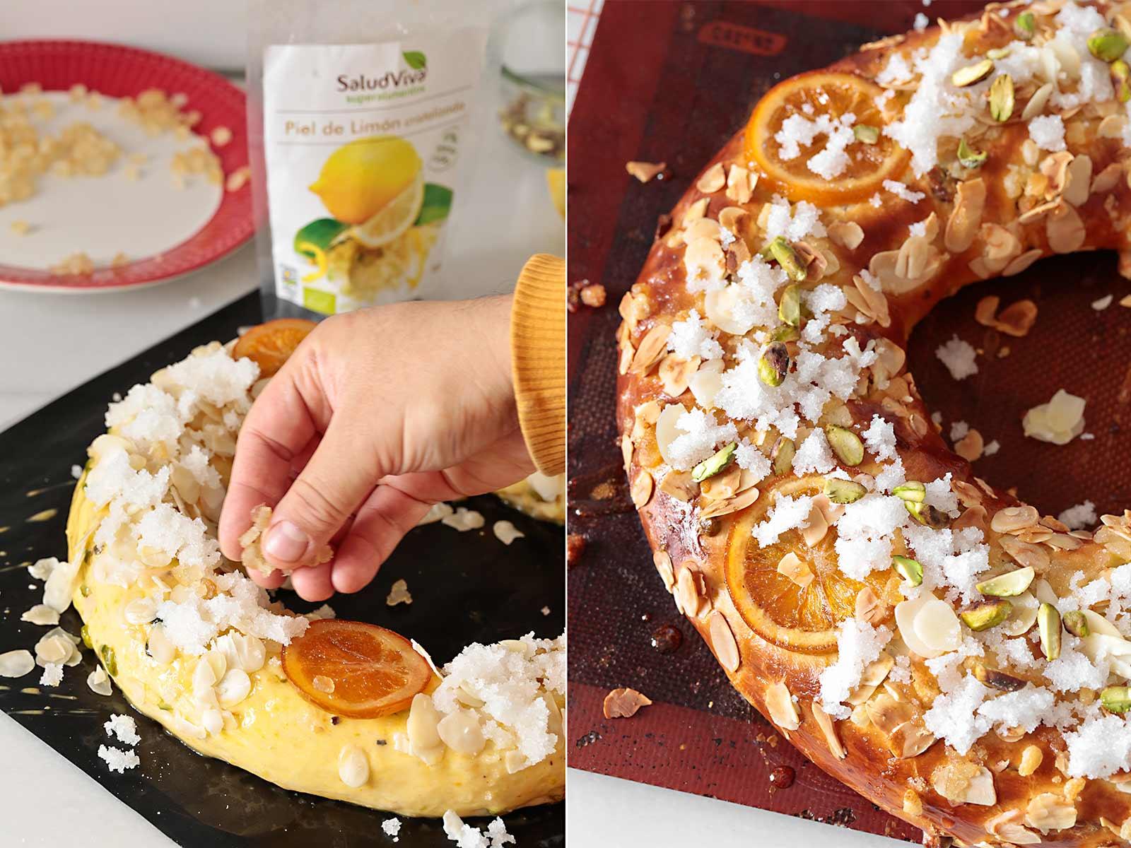 Receta roscón de Reyes con pistachos y mazapán