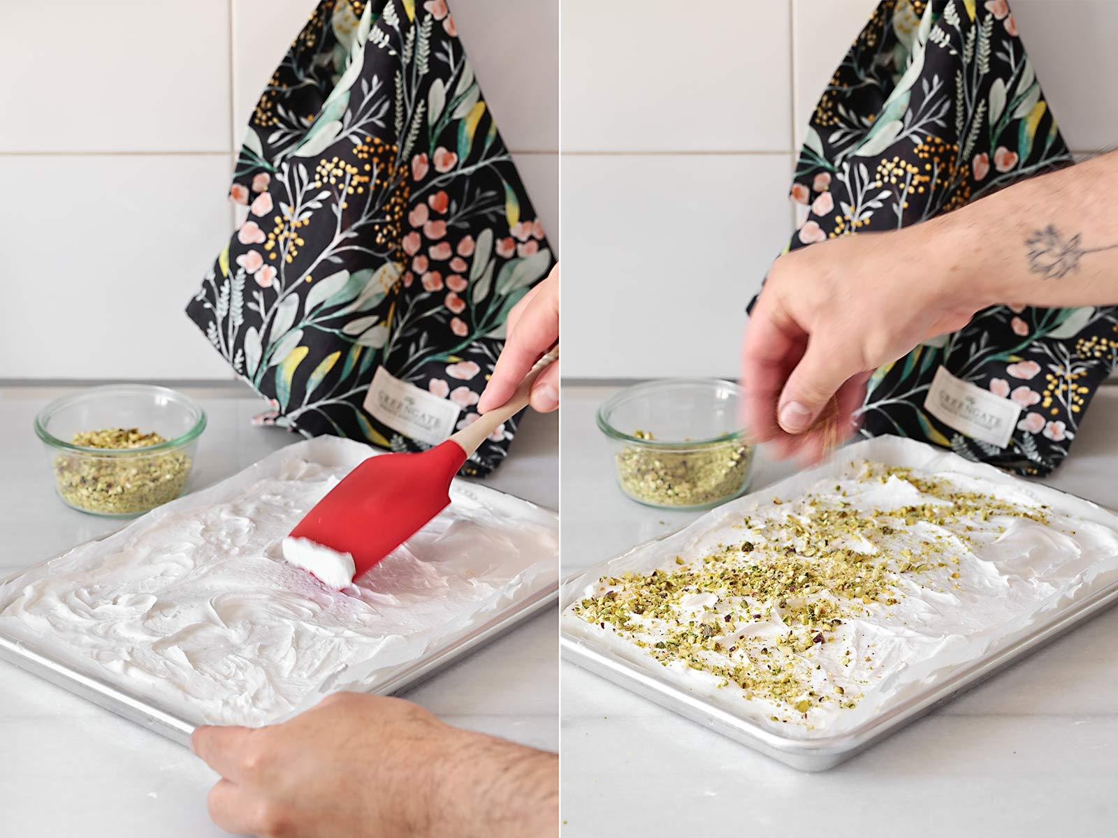 Receta roulade de merengue, limón y pistachos