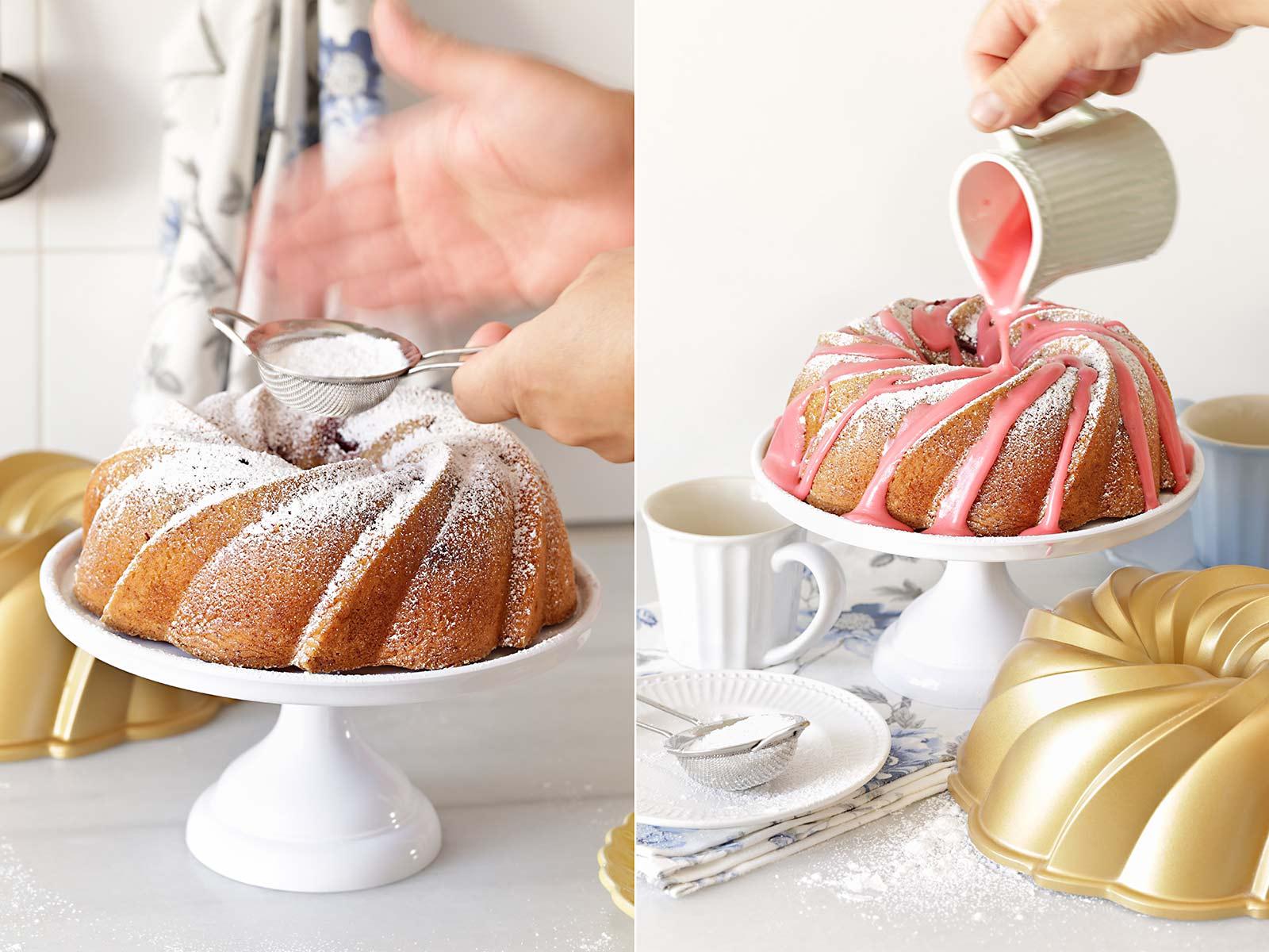 Receta bundt cake remolino de frambuesa
