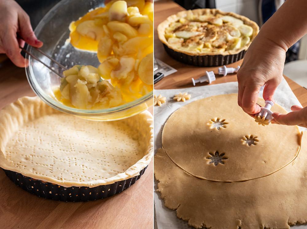receta pie manzana decorado