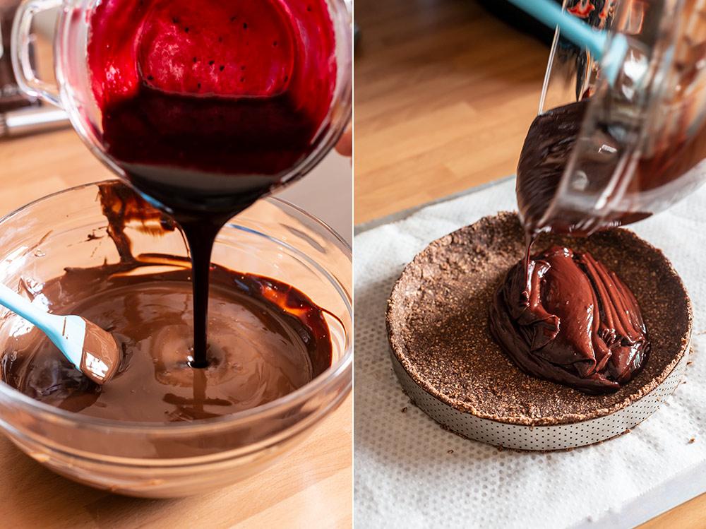receta tartaleta gigante frambuesa chocolate