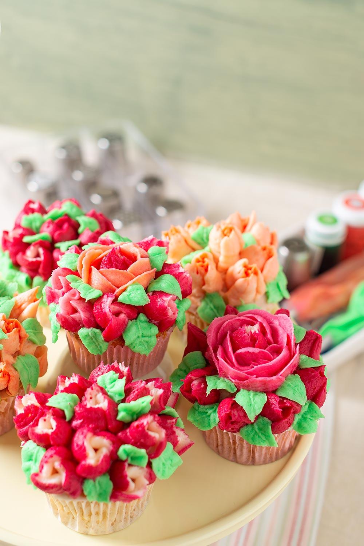 receta cupcakes flores