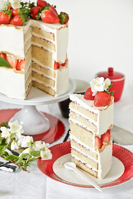 Receta tarta fault line de fresas para Mamá
