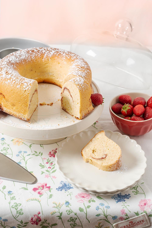 receta pound cake queso fresas