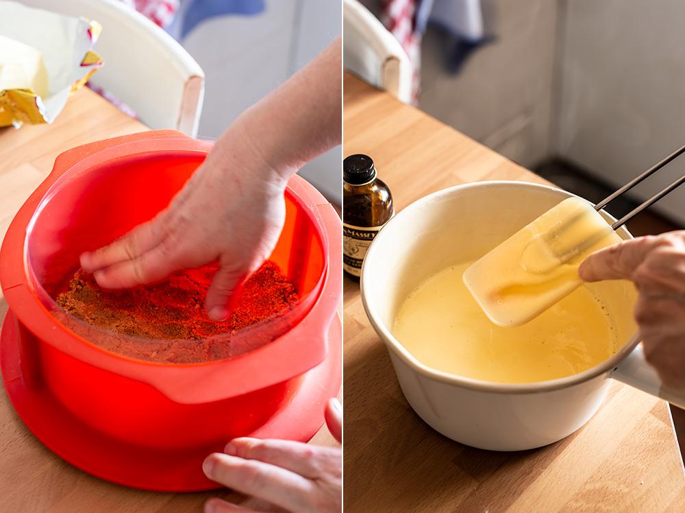 receta tarta mousse frutas