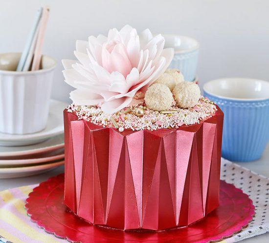 Receta tarta origami de fresa y chocolate